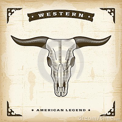 Free Vintage Western Bull Skull Royalty Free Stock Images - 44635759
