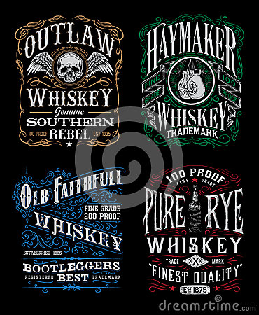 Free Vintage Whiskey Label T-shirt Graphic Set Stock Photos - 45668243