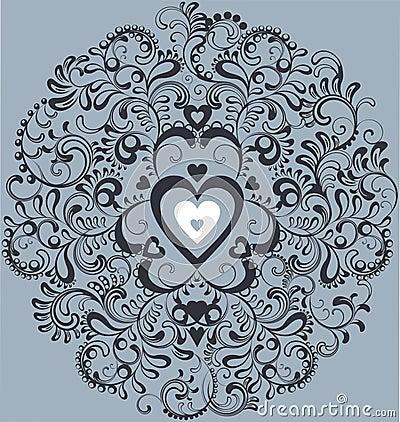 Vintage white heart in ornamental flourish circle