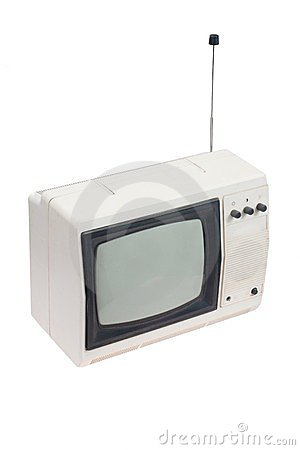 Vintage white portable TV set with antenna isolated.