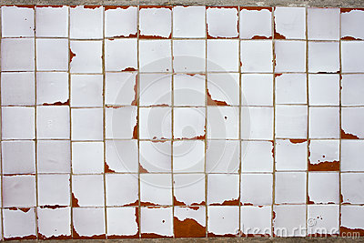 Vintage White Tiled Wall Background