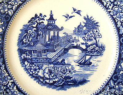 Vintage Willow Pattern Background