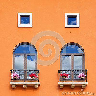 Free Vintage Window On Orange Cement Wall. Royalty Free Stock Image - 66612036