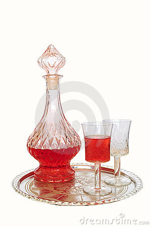 Free Vintage Wine Decanter And Two Glasses Stock Images - 20869414