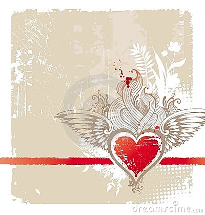 Free Vintage Winged Heart Stock Photography - 12605212
