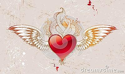 Vintage winged heart