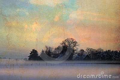 Vintage winter landscape