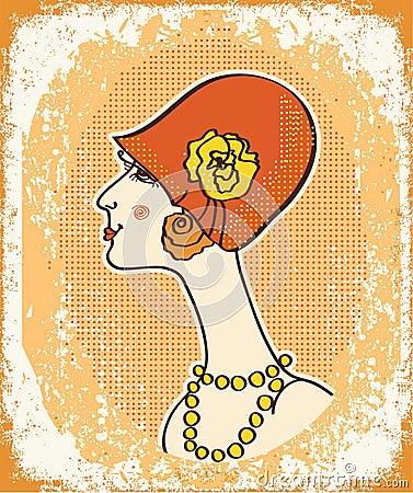 Vintage woman face