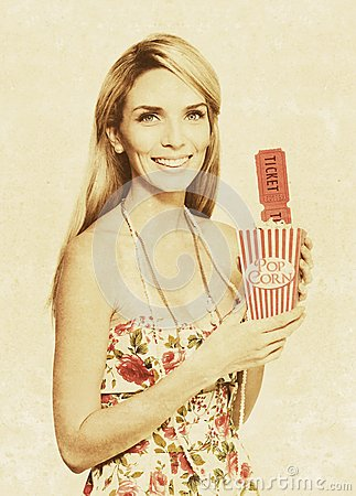 Vintage Woman With Pop Corn And Movie Tickets