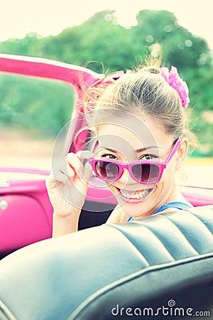 Vintage woman in retro car