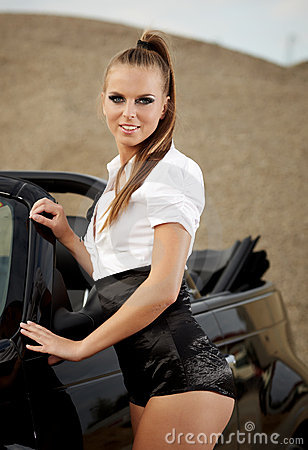 Free Vintage Woman With Cabrio Car Stock Images - 21040074