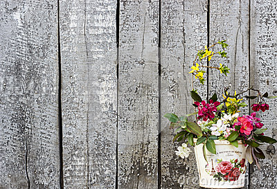 Vintage Wood Background With Flowers Shabby Chic Stock