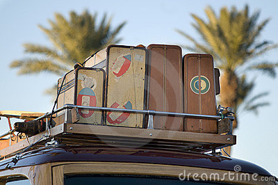 Vintage wood car with old travel suitcases