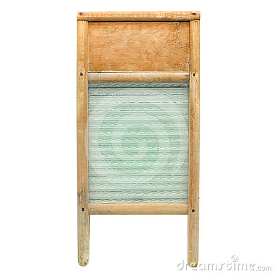 Vintage Wood and Glass Laundry Washboard Isolated