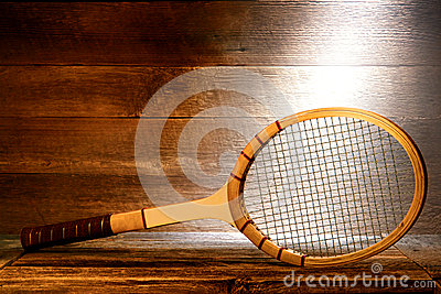 Vintage Wood Tennis Racket in Old House Attic