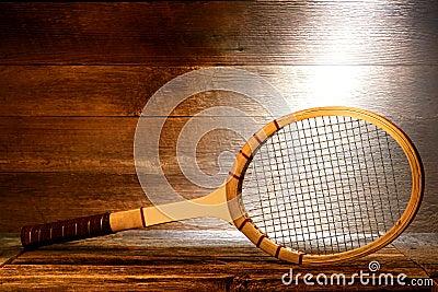 Vintage Wood Tennis Racket in Old House Attic