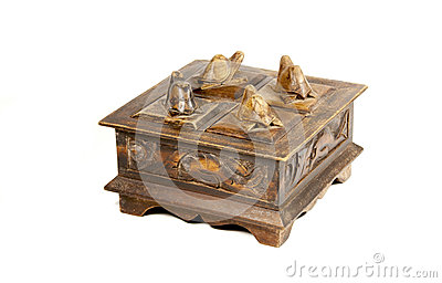 Vintage Wooden Carved Jewelry Box With Patterns and Turtles