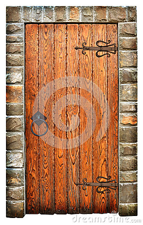 Vintage wooden door on brick wall
