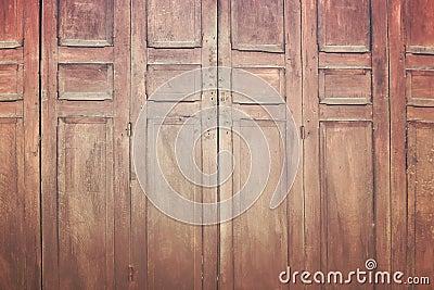 Vintage wooden folding door, retro style image Stock Photo