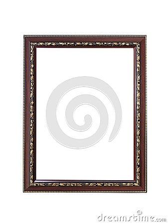 Vintage wooden frame isolated on white background Stock Photo