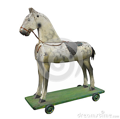 Vintage wooden hobby horse isolated.