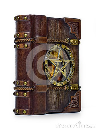 Free Vintage Wooden - Leather Grimoire Book - Front View From The Left Royalty Free Stock Image - 115835006
