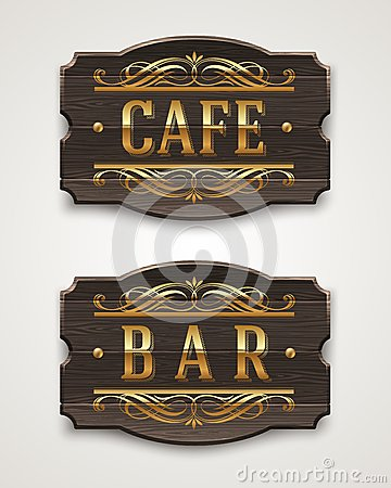 Vintage wooden signs for cafe and bar