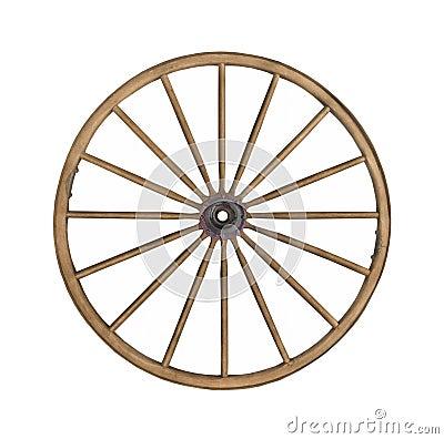 Free Vintage Wooden Wagon Wheel Isolated. Stock Photo - 24448740
