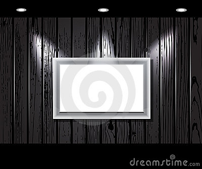 Vintage wooden wall with a spot illumination.