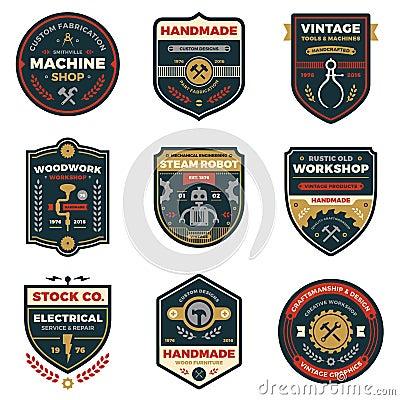 Free Vintage Workshop Badges Stock Image - 51305321