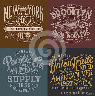 Free Vintage Workwear Graphics Set Royalty Free Stock Image - 51768986