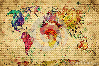 Vintage world map. Colorful paint Stock Photo