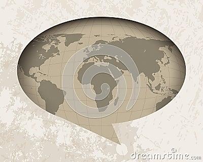 Vintage world map in speech balloon background