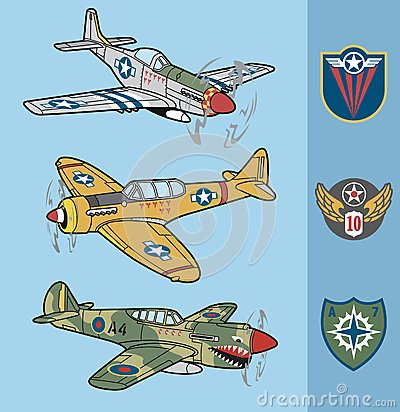 Free Vintage World War II Fighter Planes Set 1 Stock Image - 41371271