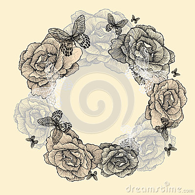 Vintage wreath of roses, butterflies, hand-drawing