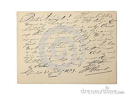 Vintage written document