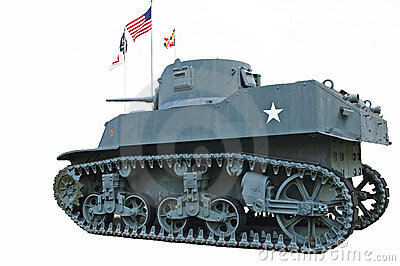 Vintage WWII US Army Tank Isolated