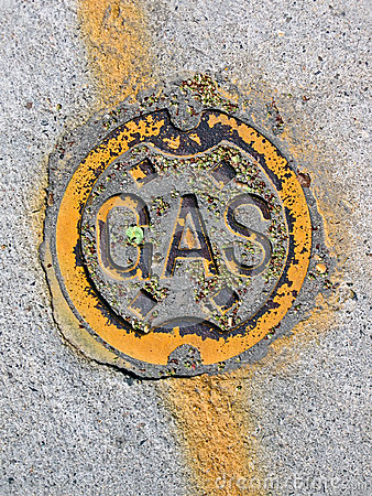 Vintage yellow gas manhole, energy details,