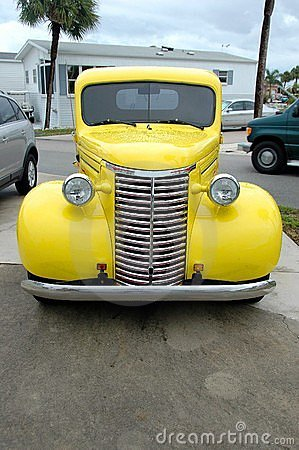 Vintage yellow pickup truck
