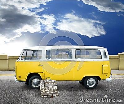 Vintage yellow van