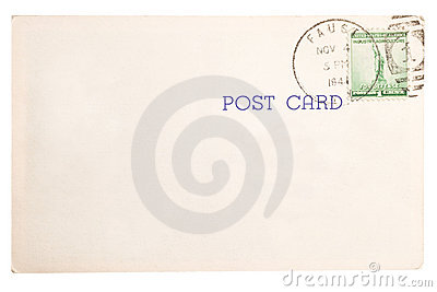 Vintage yellowed postcard