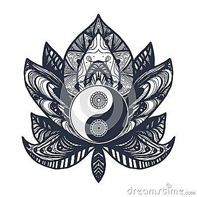 Vintage Yin And Yang In Lotus Stock Photo Cartoondealercom 87881172
