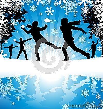 Vintern kastar snöboll slagsmål