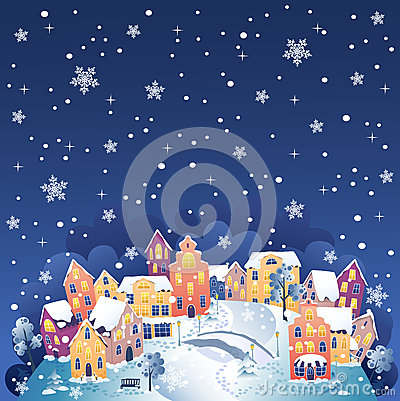 Vintertown på natten