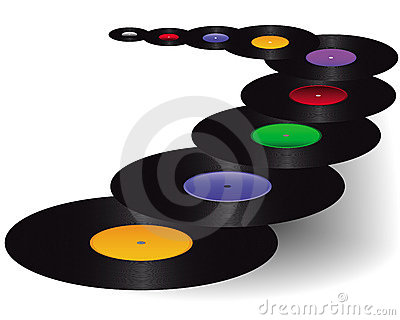 Vinyl with colored stickers
