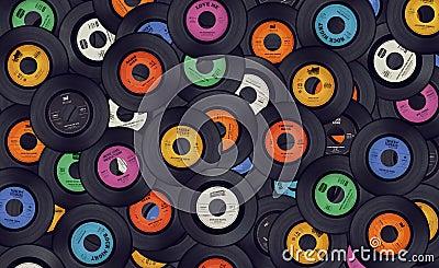 Vinyl music records background Stock Photo
