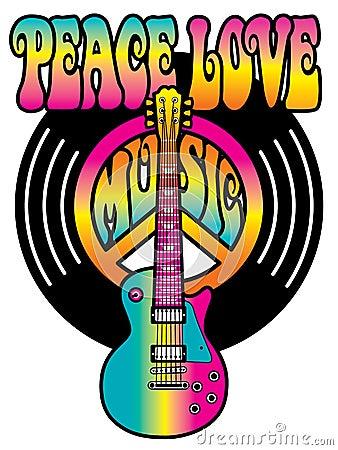 Vinyl Peace Love Music Stock Vector Image 43109046