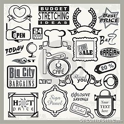 Vinyl Ready Sign Designs, Headers & Labels Set