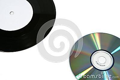 Vinyl record and CD (close)