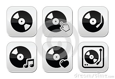 Vinyl record, dj  buttons set